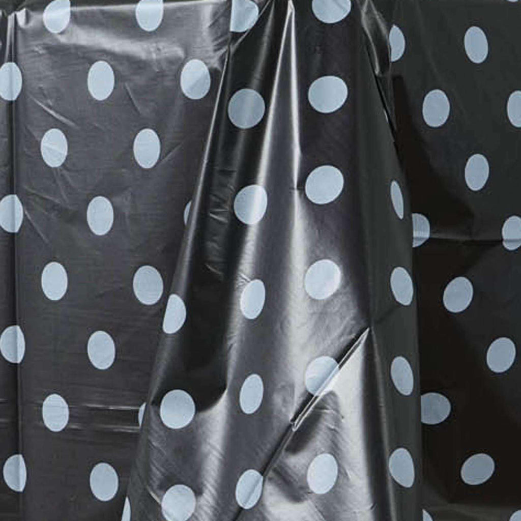 "Perky Polka Dots 54x108"" Disposable Plastic Table Cover - Black / White"