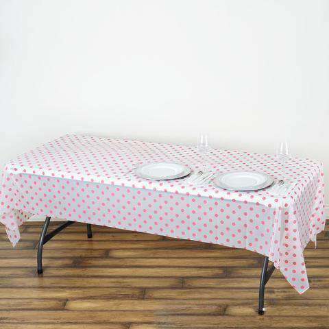 "54""x108"" Spill Proof & Waterproof Wipe Clean Polka Dots tablecloth - White/Pink"