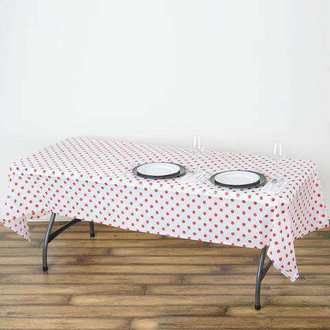 "54""x108"" Spill Proof & Waterproof Wipe Clean Polka Dots tablecloth - White/Red"