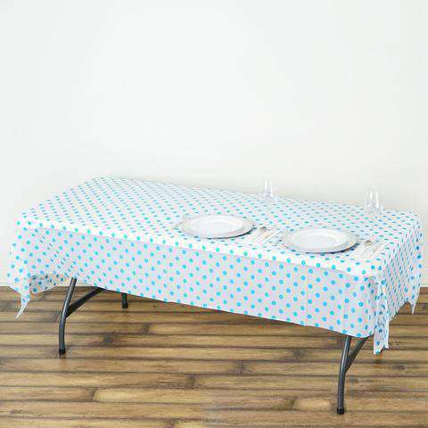 "54""x108"" Spill Proof & Waterproof Wipe Clean Polka Dots tablecloth - White/Serenity Blue"