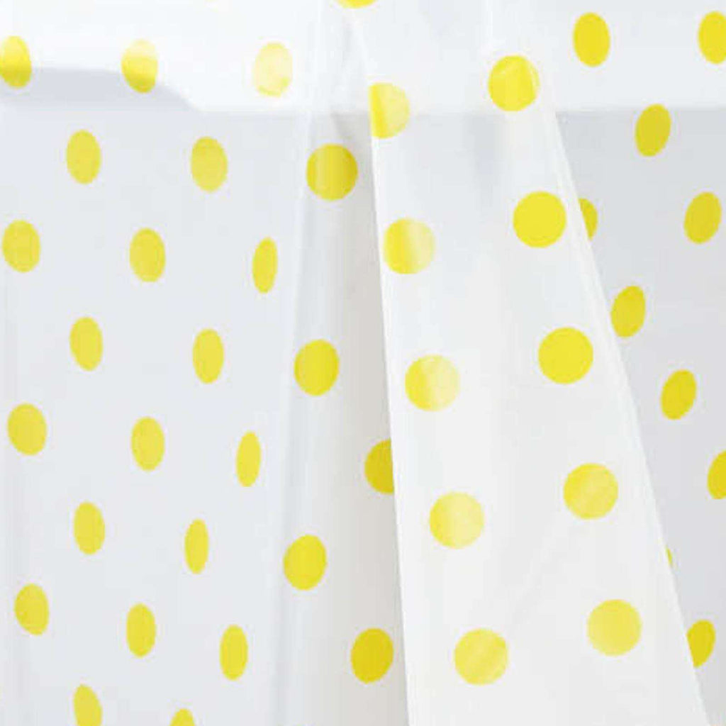 "54"" x 108"" Disposable Polka Dots Plastic Vinyl Picnic Birthday Party Home Tablecloth - White/Yellow"