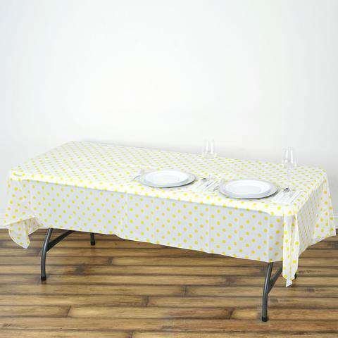 "54""x108"" Spill Proof & Waterproof Wipe Clean Polka Dots tablecloth - White/Yellow"