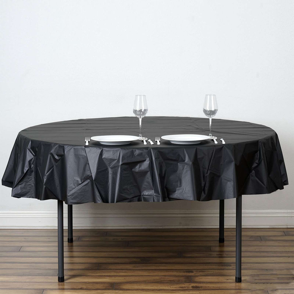 "84"" Black Crushed Design PVC Round Spill Proof & Waterproof Wipe Clean Tablecloths"