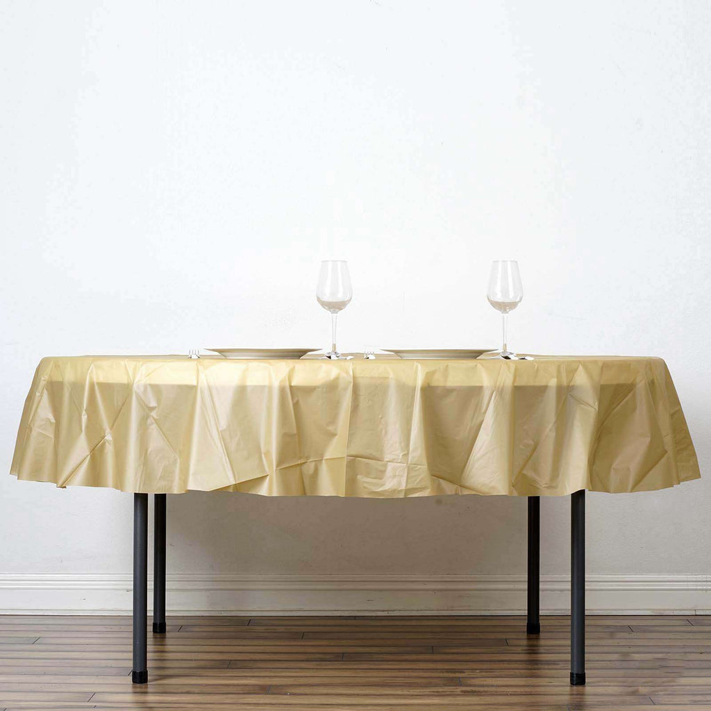 "84"" Gold Crushed Design PVC Round Spill Proof & Waterproof Wipe Clean Tablecloths"