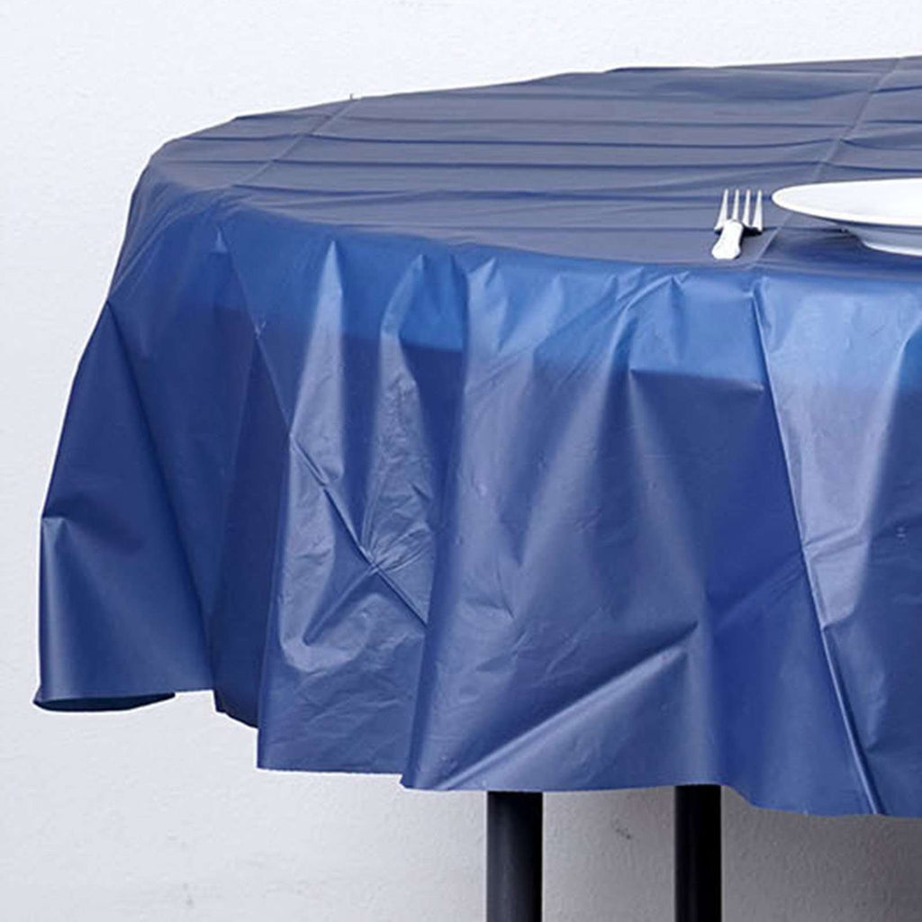 "84"" Navy Blue Crushed Design PVC Round Spill Proof & Waterproof Wipe Clean Tablecloths"