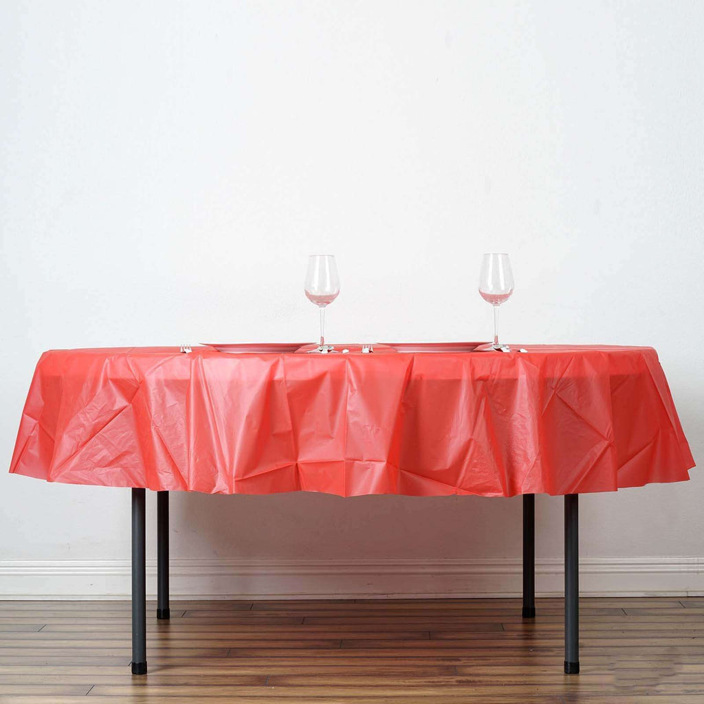 "84"" Red Crushed Design PVC Round Spill Proof & Waterproof Wipe Clean Tablecloths"