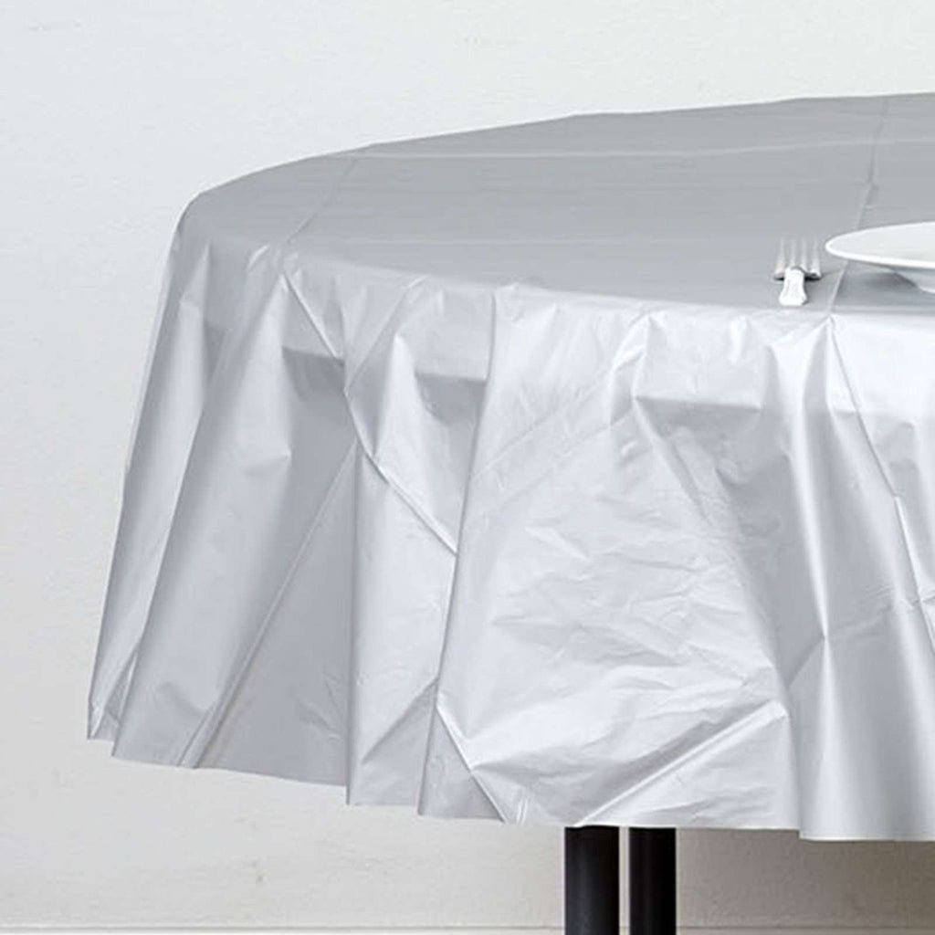 "84"" Silver Crushed Design PVC Round Spill Proof & Waterproof Wipe Clean Tablecloths"