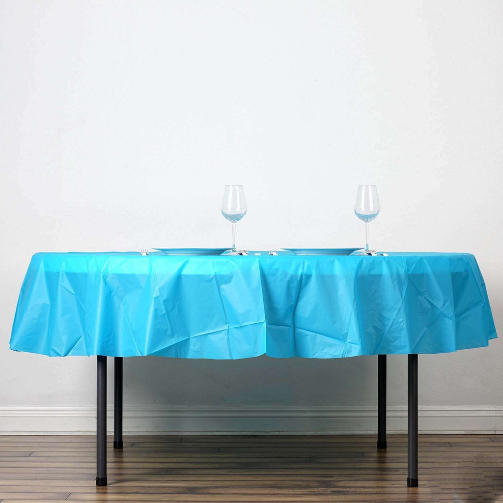 "84"" Turquoise Crushed Design PVC Round Spill Proof & Waterproof Wipe Clean Tablecloths"