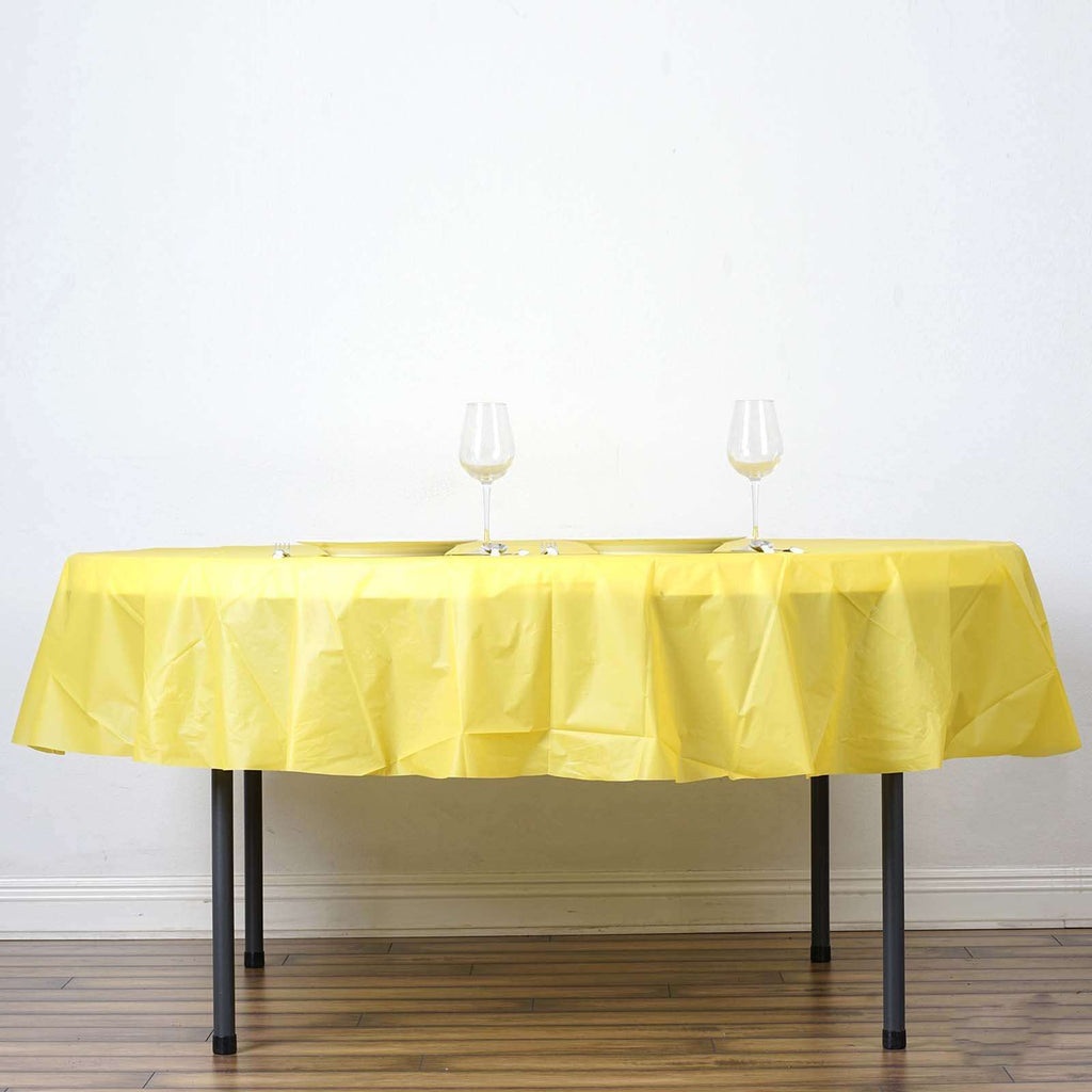 "84"" Yellow Crushed Design PVC Round Spill Proof & Waterproof Wipe Clean Tablecloths"
