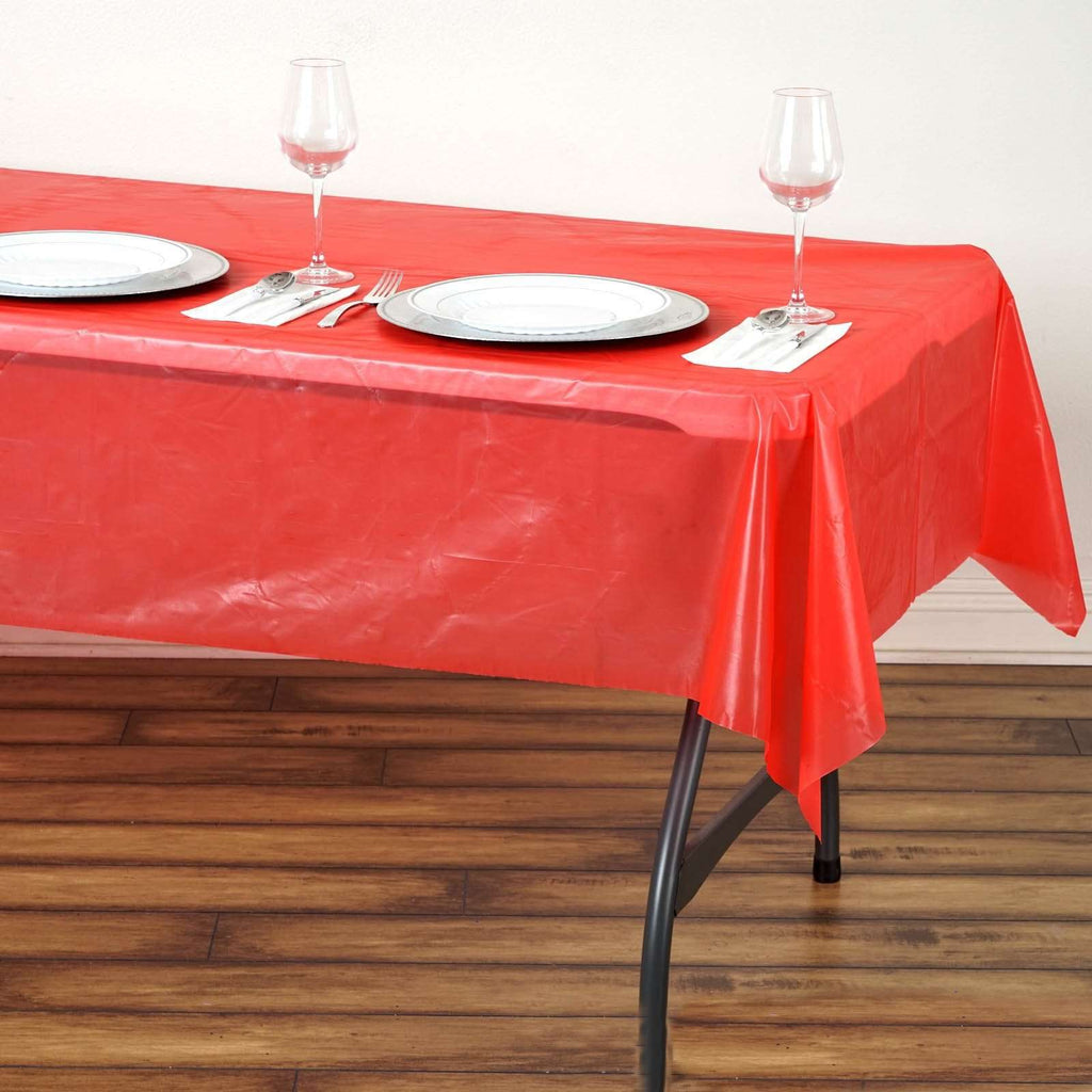 "54""x72"" Red 10mil Thick PVC Spill Proof & Waterproof Wipe Clean Tablecloths"