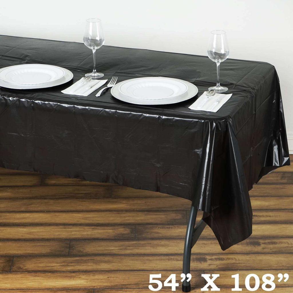"Spotless Elegance 54x108"" Disposable Plastic Table Cover - Black"