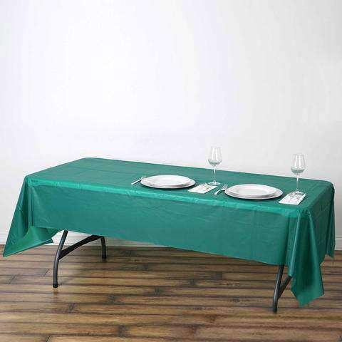 "54""x108"" Hunter Green 10mil Thick PVC Spill Proof & Waterproof Wipe Clean Tablecloths"