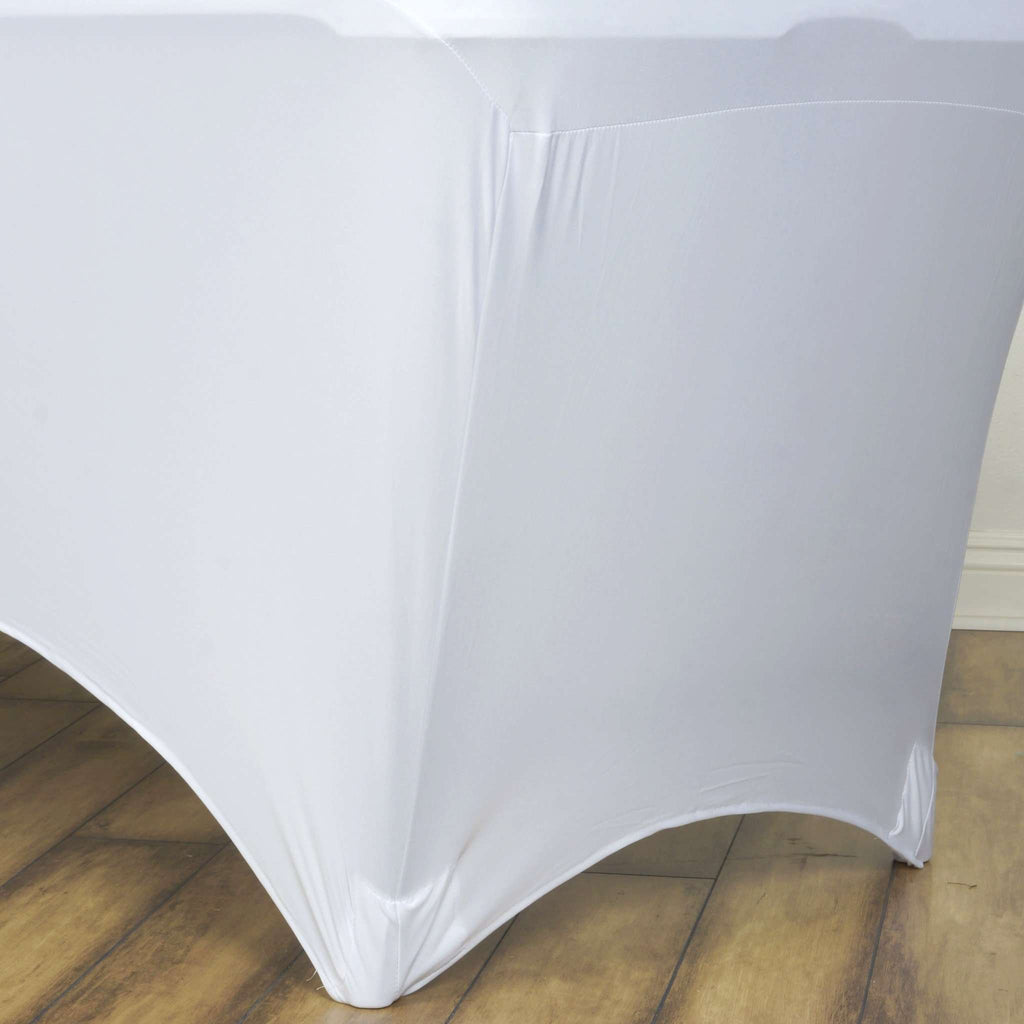 4 Ft Rectangular Spandex Table Cover - Ivory