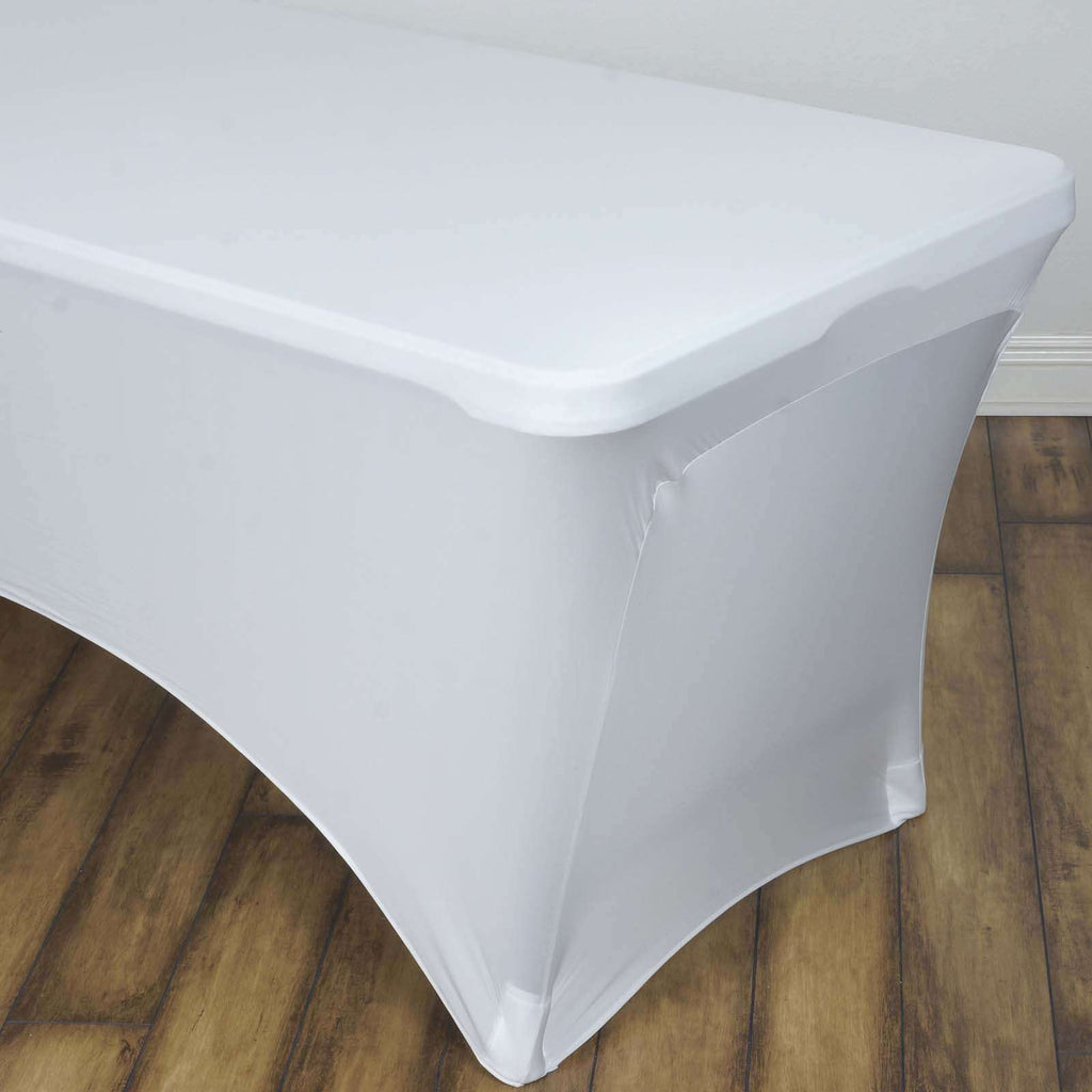 8 Ft Rectangular Spandex Table Cover - Ivory