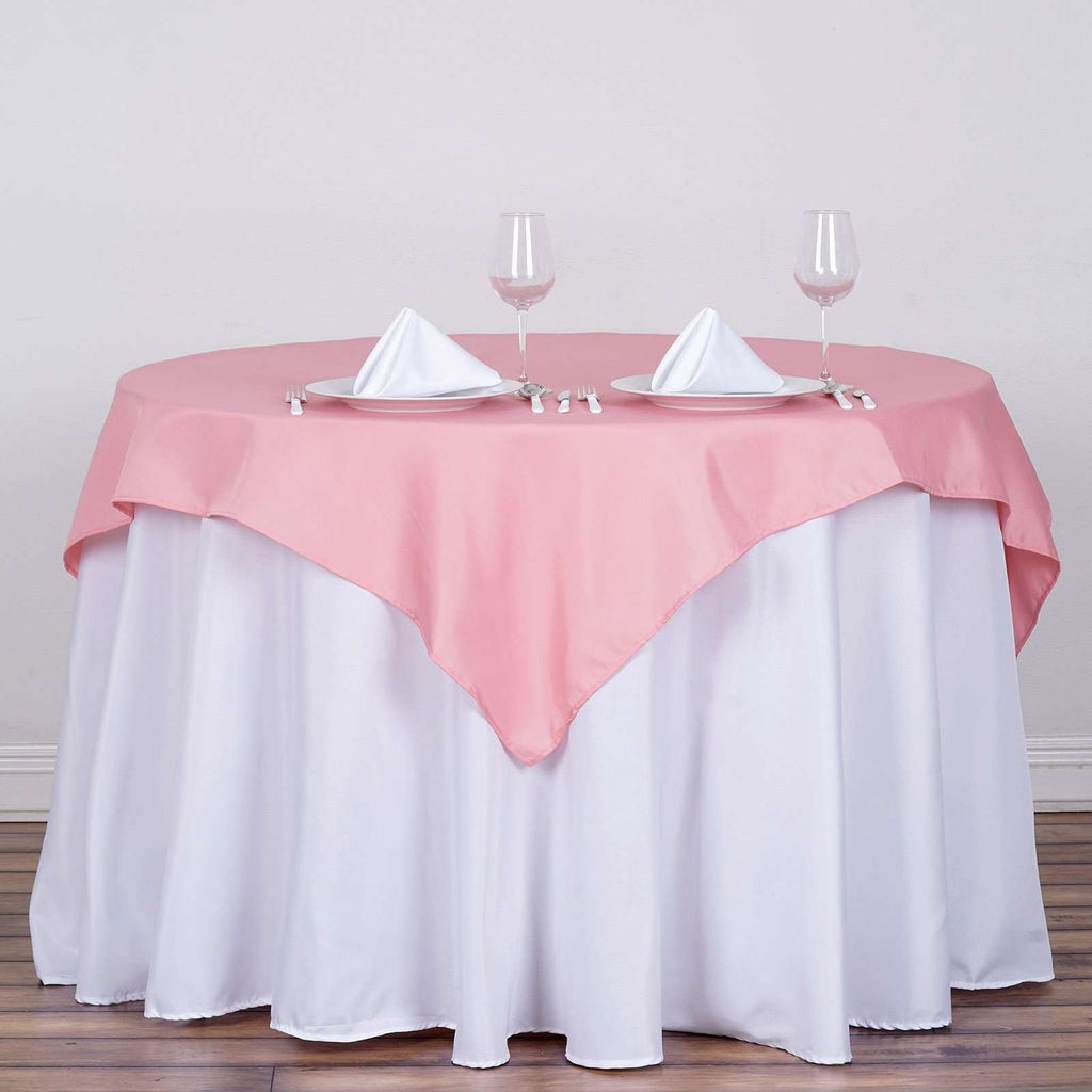 "54x54"" Seamless Polyester Square Linen Tablecloth - Rose Quartz"