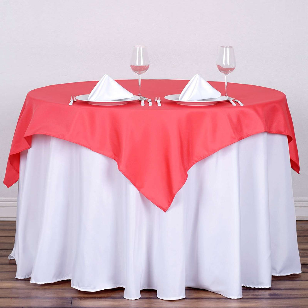 "54x54"" Seamless Polyester Square Linen Tablecloth - Coral"