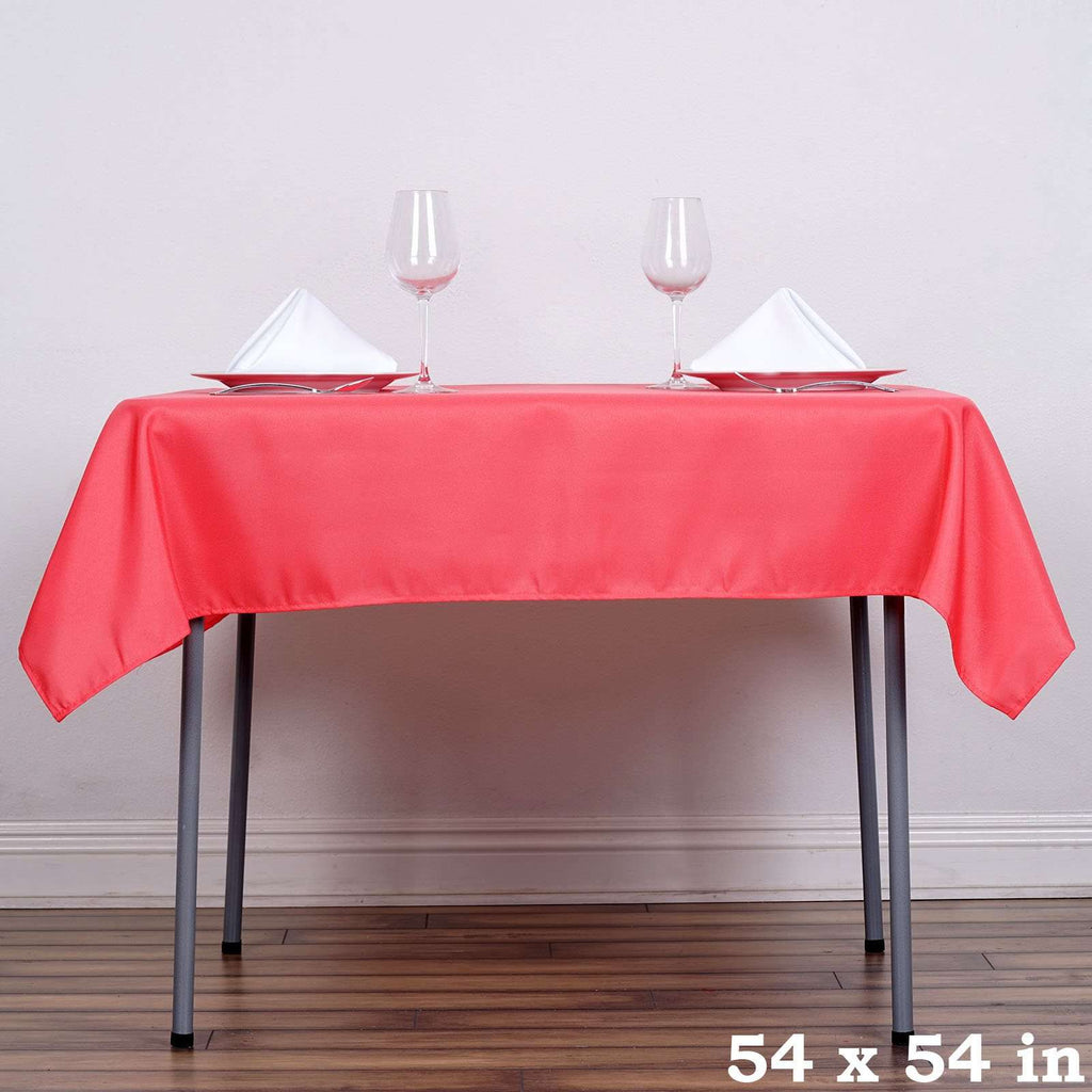 "54"" x 54"" Coral Wholesale Seamless Polyester Square Tablecloth Overlay For Banquet Wedding Party Restaurant"