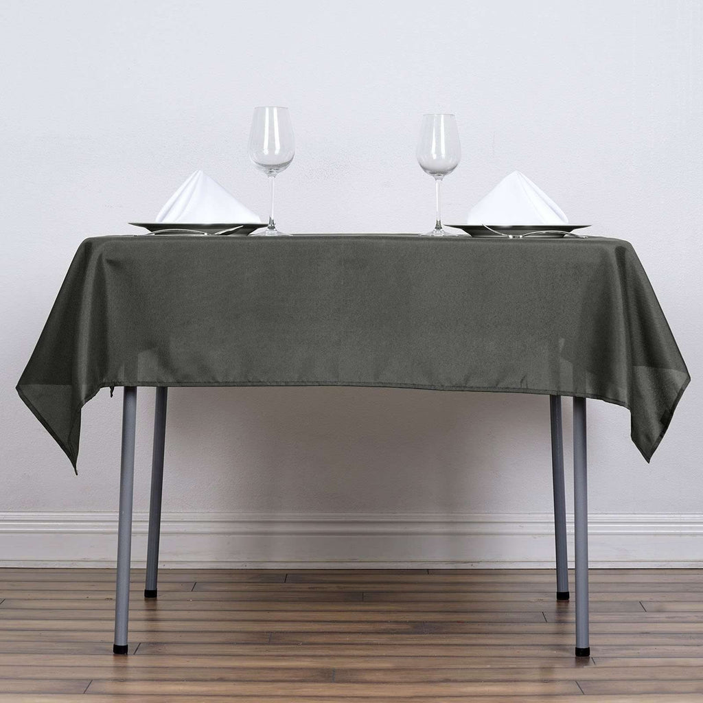 "54""x54"" Charcoal Grey Seamless Polyester Square Linen Tablecloth"