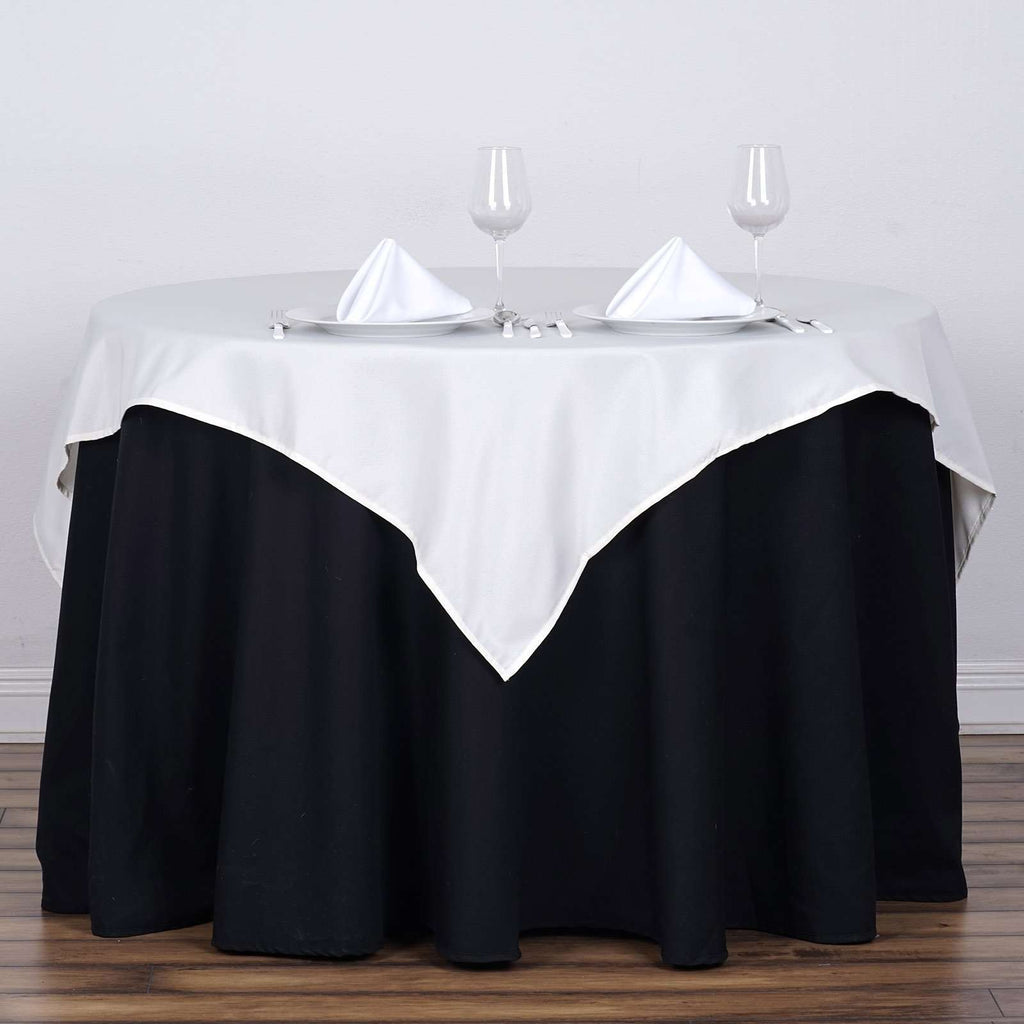 "54x54"" Seamless Polyester Square Linen Tablecloth - Ivory"