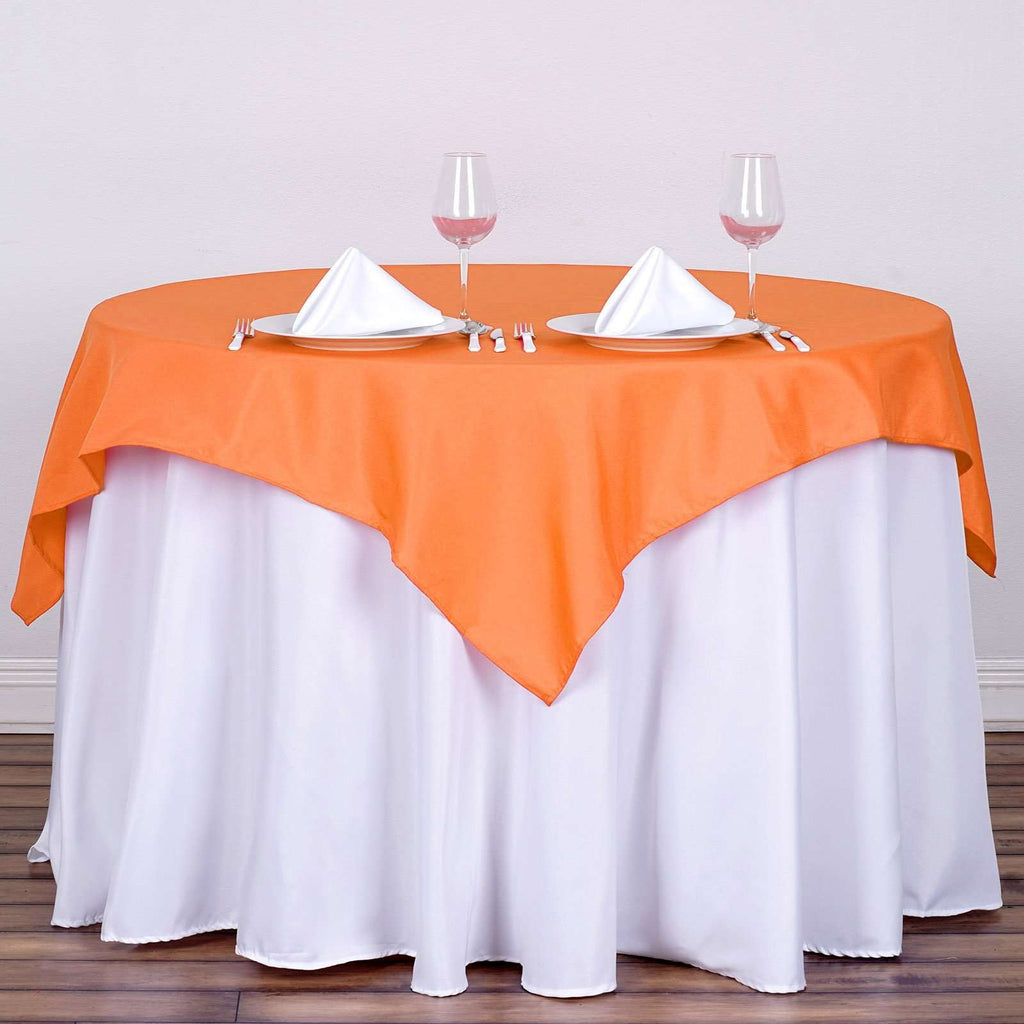 "54x54"" Seamless Polyester Square Linen Tablecloth - Orange"