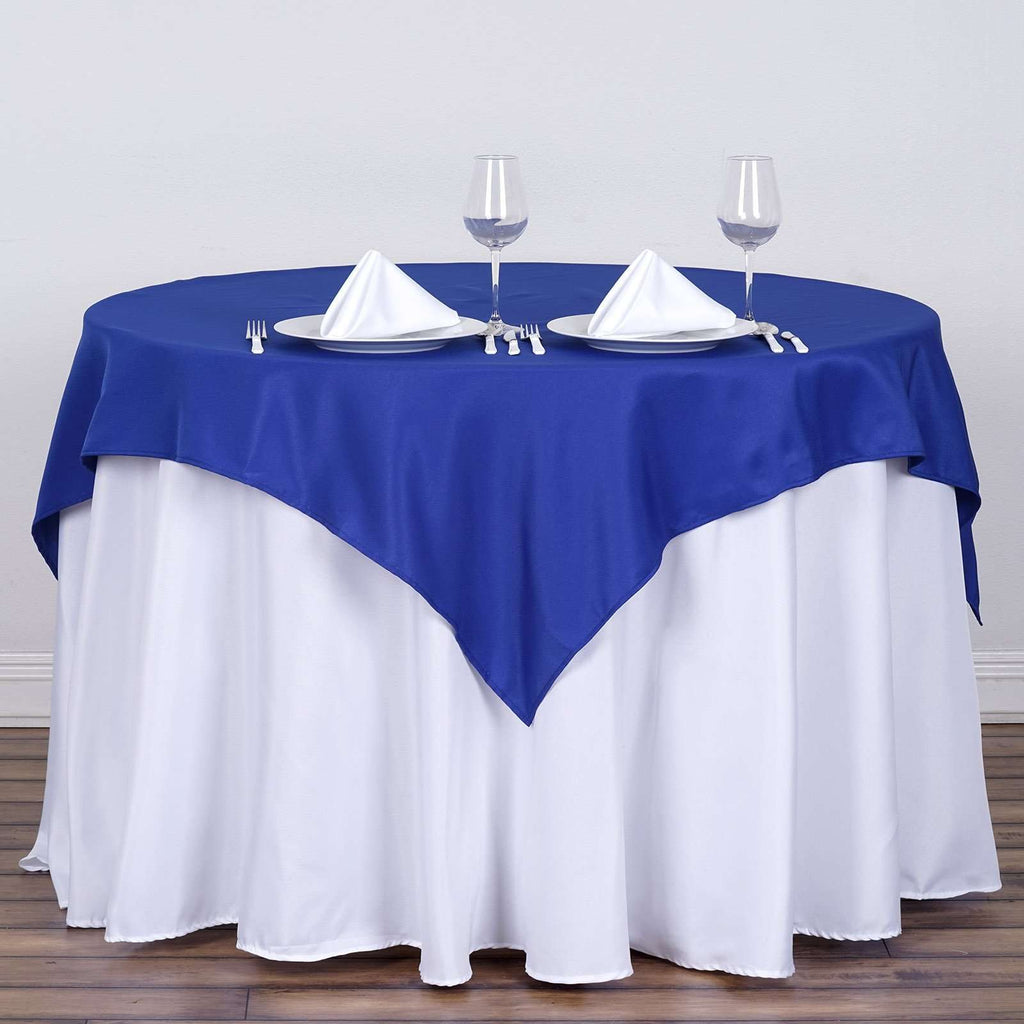 "54"" x 54"" Royal Blue Wholesale Seamless Polyester Square Tablecloth Overlay For Banquet Wedding Party Restaurant"