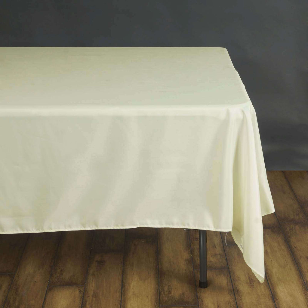 "70"" IVORY Wholesale Polyester Square Linen Tablecloth For Wedding Banquet Party Restaurant"