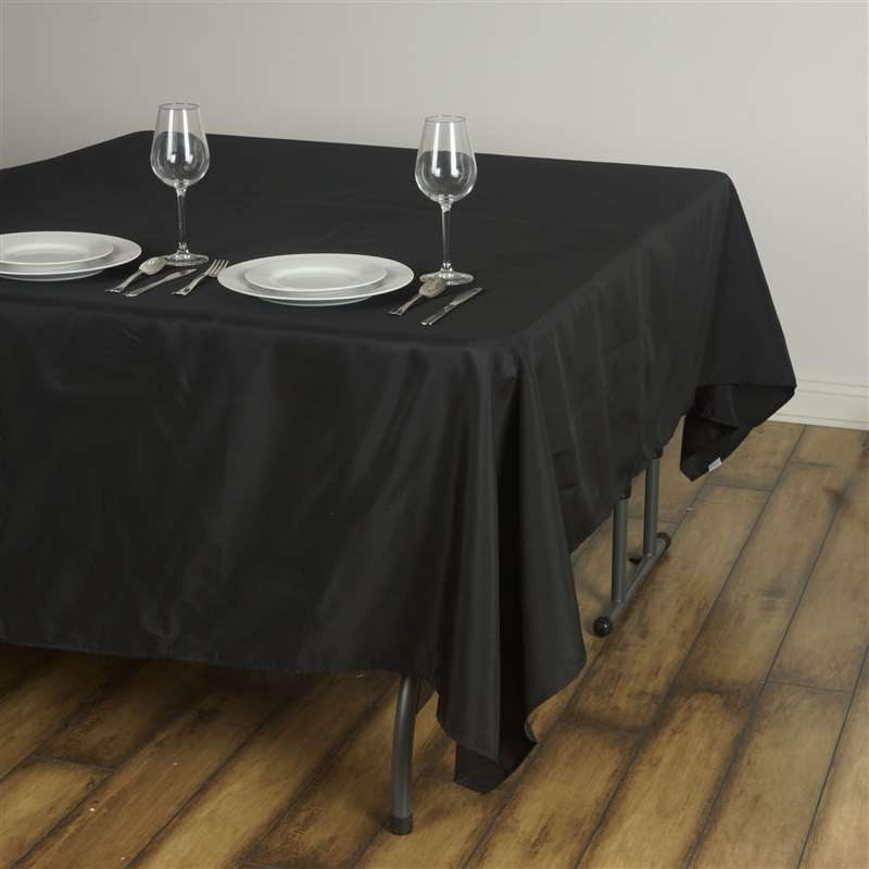"90"" BLACK Wholesale Polyester Square Linen Tablecloth For Wedding Banquet Party Restaurant"