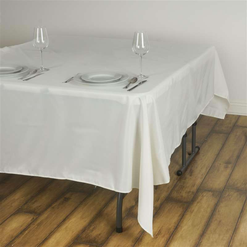 "90"" IVORY Wholesale Polyester Square Linen Tablecloth For Wedding Banquet Party Restaurant"