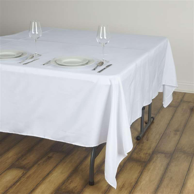 "90"" WHITE Wholesale Polyester Square Linen Tablecloth For Wedding Banquet Party Restaurant"