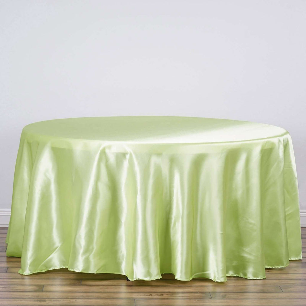 "108"" TEA GREEN Wholesale SATIN Round Tablecloth For Wedding Banquet Restaurant"