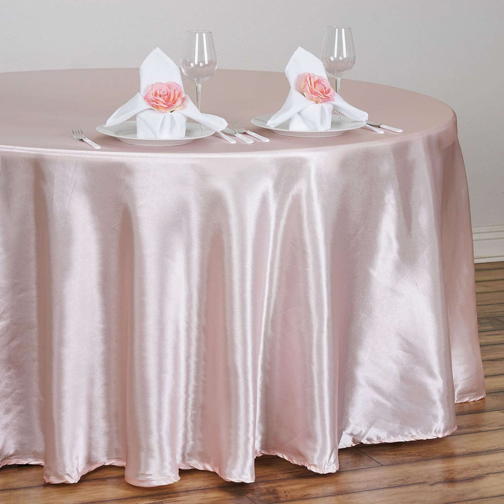 "108"" Satin Round Tablecloth - Rose Gold 
