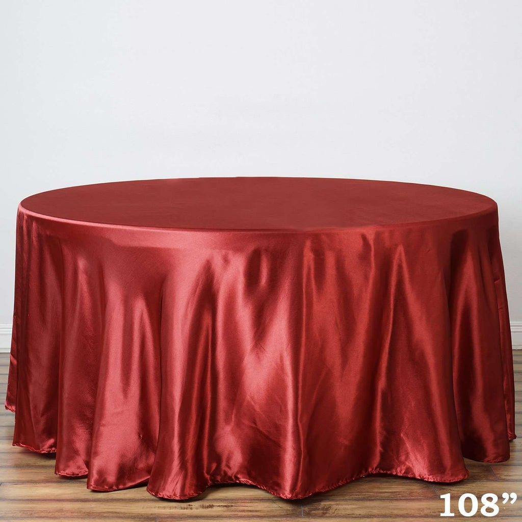 "108"" WINE Wholesale SATIN Round Tablecloth For Wedding Banquet Restaurant"