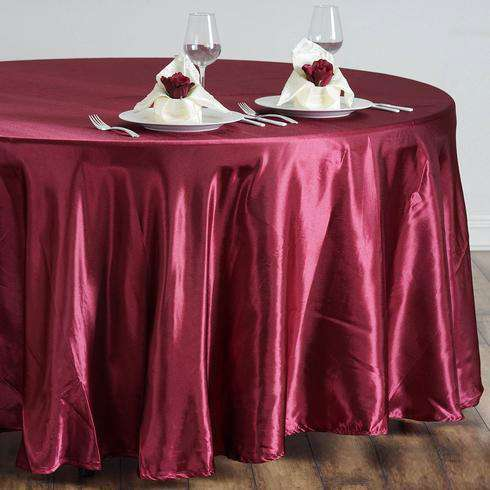 "108"" BURGUNDY Wholesale SATIN Round Tablecloth For Wedding Banquet Restaurant"