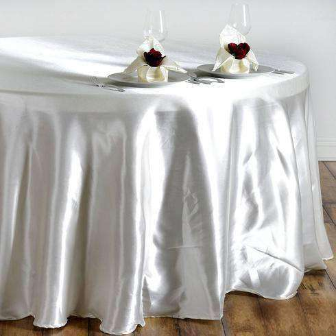 "108"" IVORY Wholesale SATIN Round Tablecloth For Wedding Banquet Restaurant"