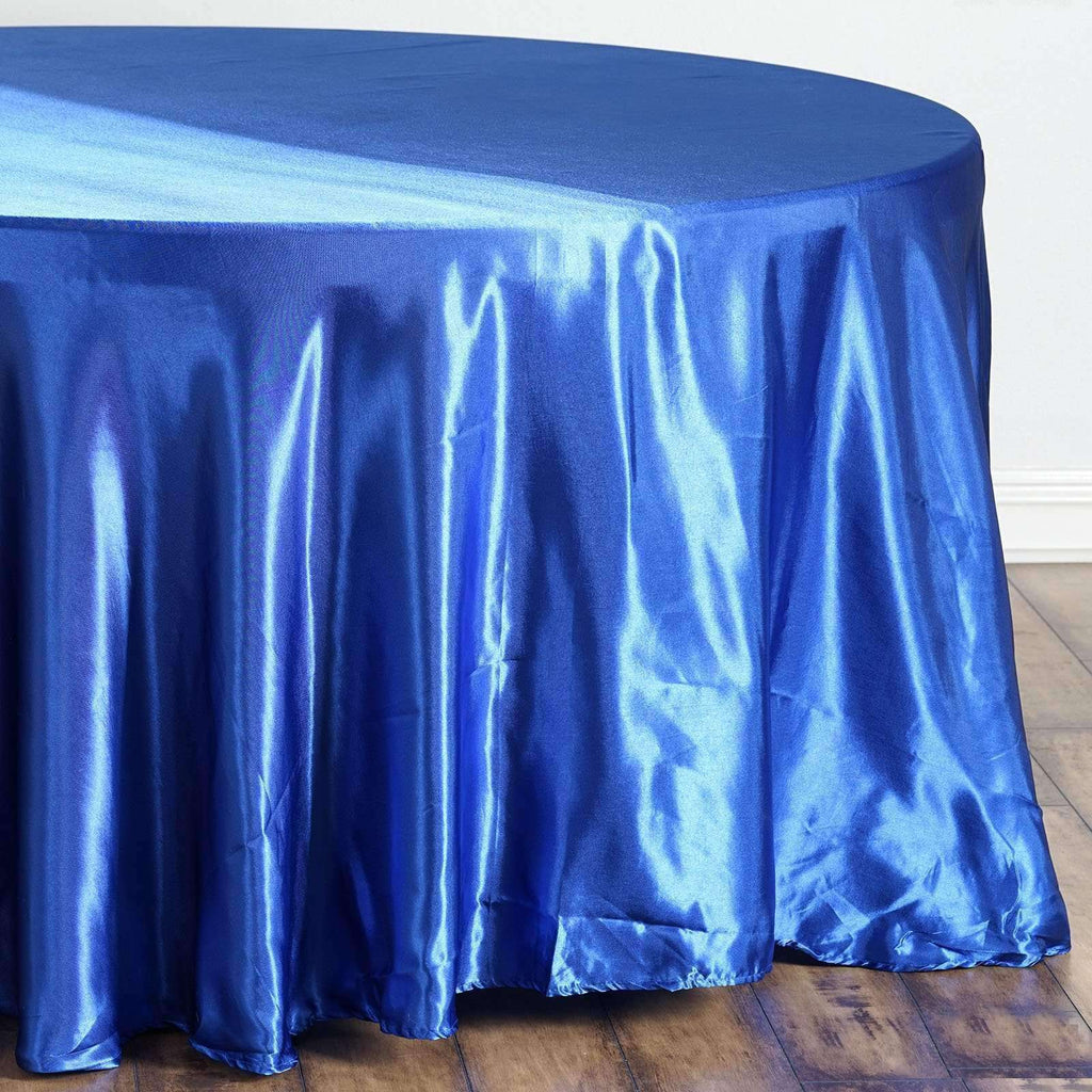 "108"" ROYAL BLUE Wholesale SATIN Round Tablecloth For Wedding Banquet Restaurant"