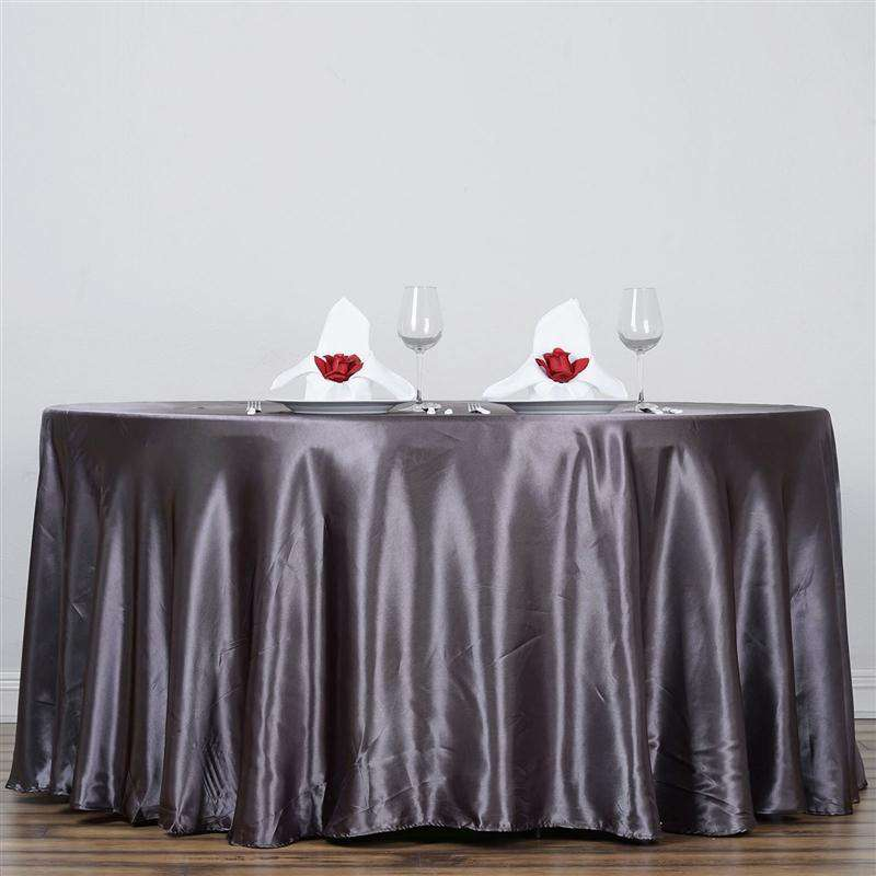"120"" Charcoal Grey Wholesale SATIN Round Tablecloth"