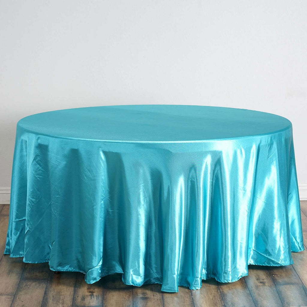 "120"" Turquoise Satin Round Tablecloth"