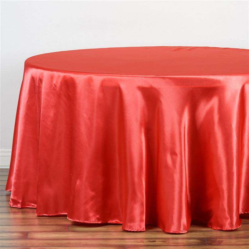 "90"" CORAL Wholesale SATIN Round Tablecloth For Wedding Banquet Restaurant"