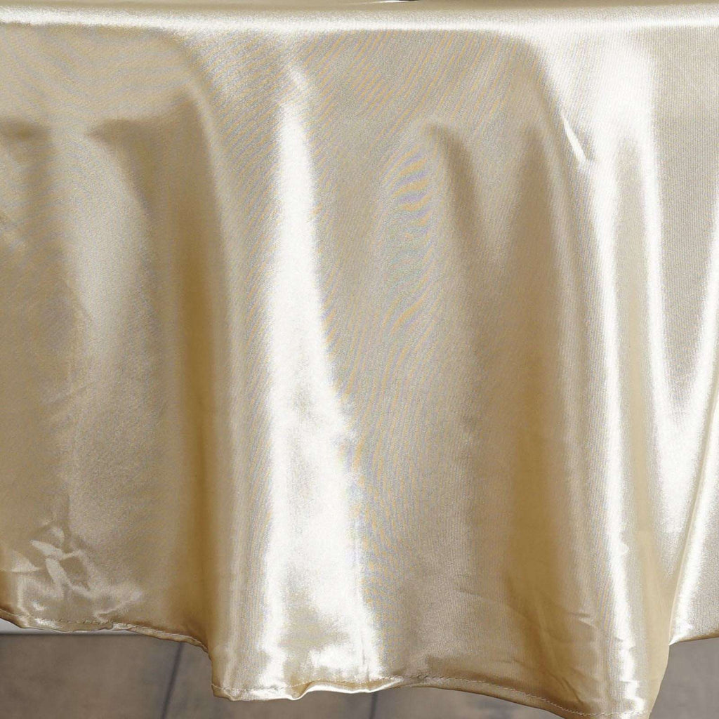 "90"" CHAMPAGNE Wholesale SATIN Round Tablecloth For Wedding Banquet Restaurant"