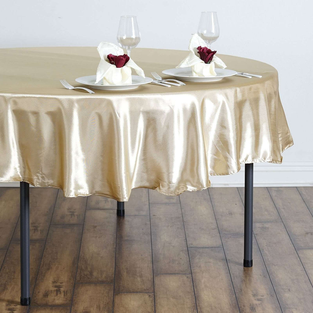 "90"" Champagne Satin Round Tablecloth"