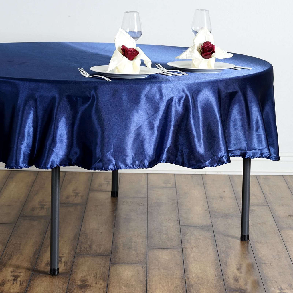 "90"" Navy Blue Satin Round Tablecloth"