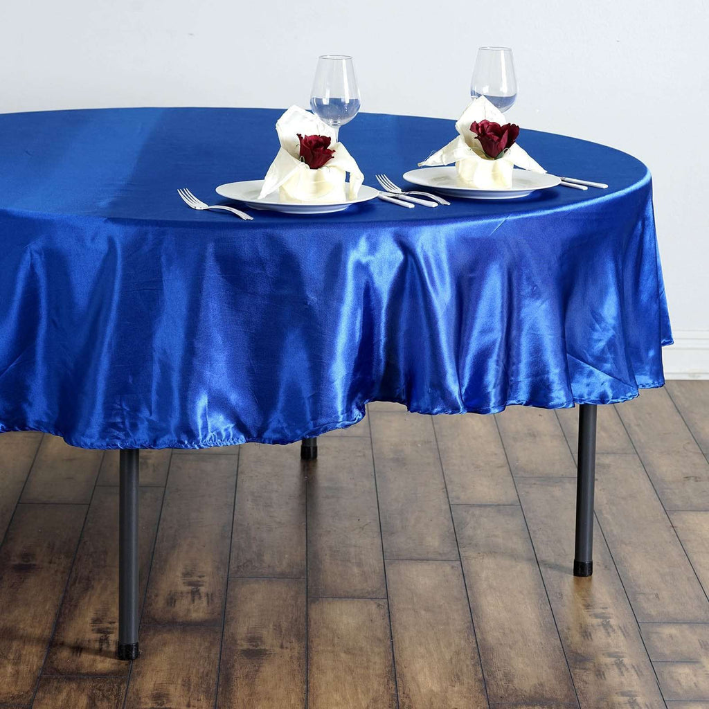 "90"" Royal Blue Satin Round Tablecloth"