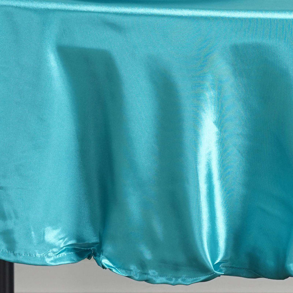 "90"" TURQUOISE Wholesale SATIN Round Tablecloth For Wedding Banquet Restaurant"