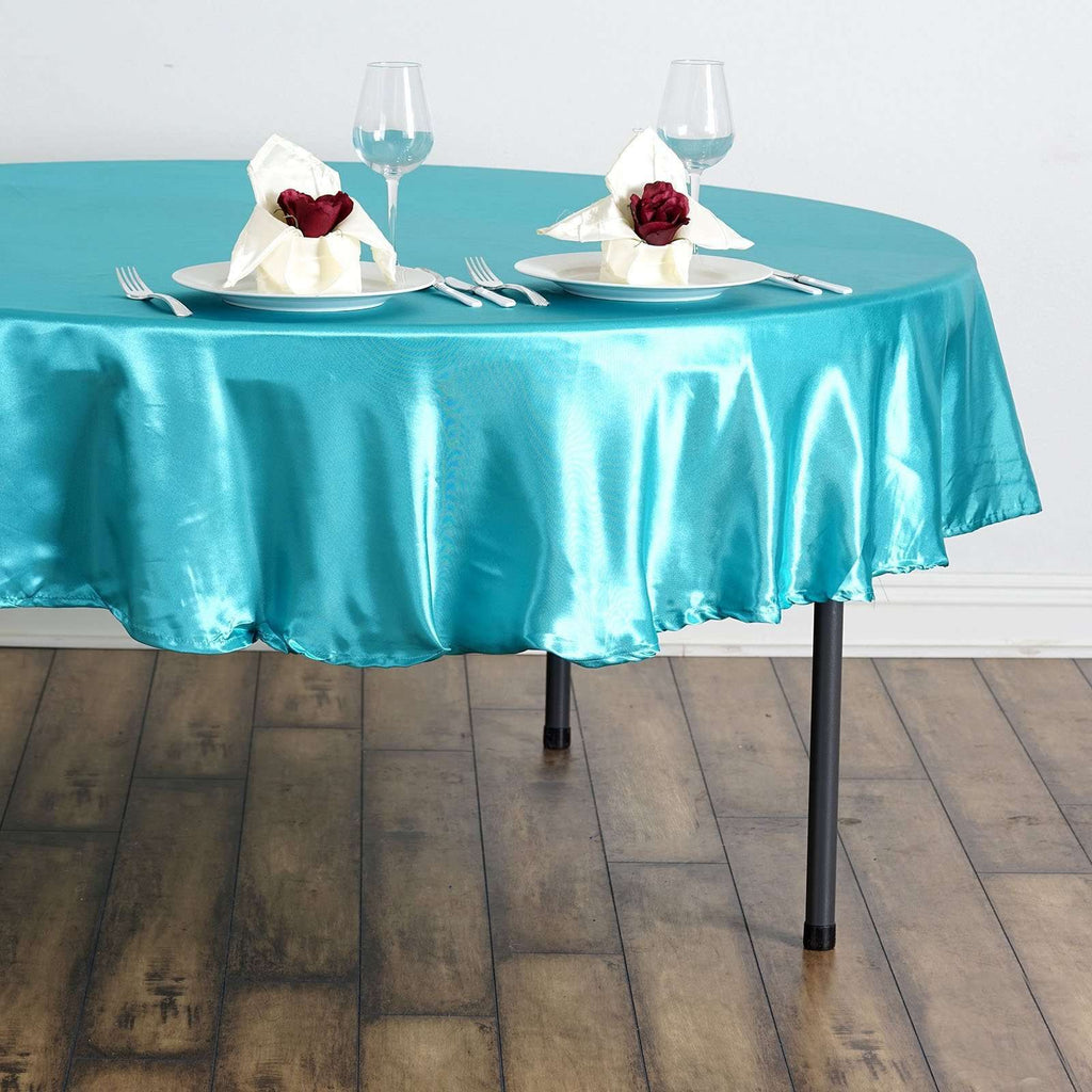 "90"" Turquoise Satin Round Tablecloth"