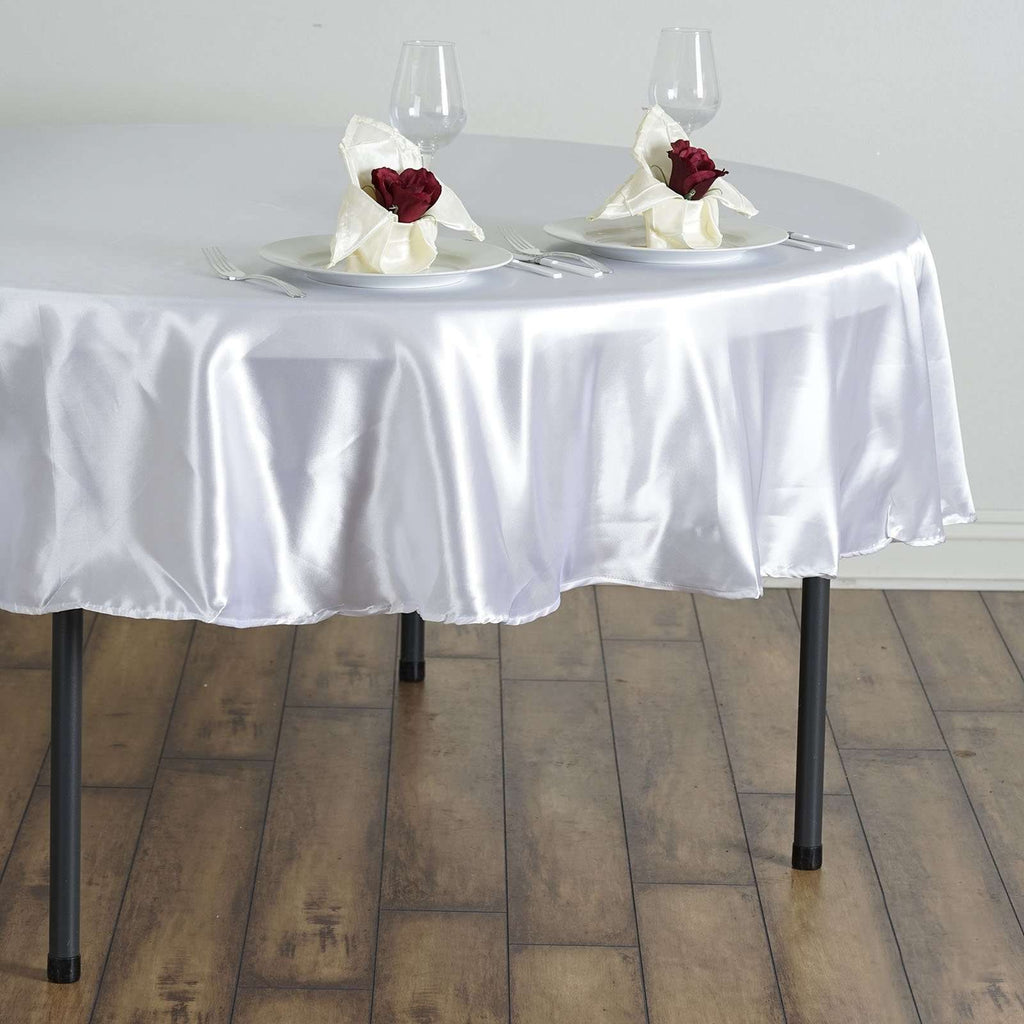 "90"" White Satin Round Tablecloth"