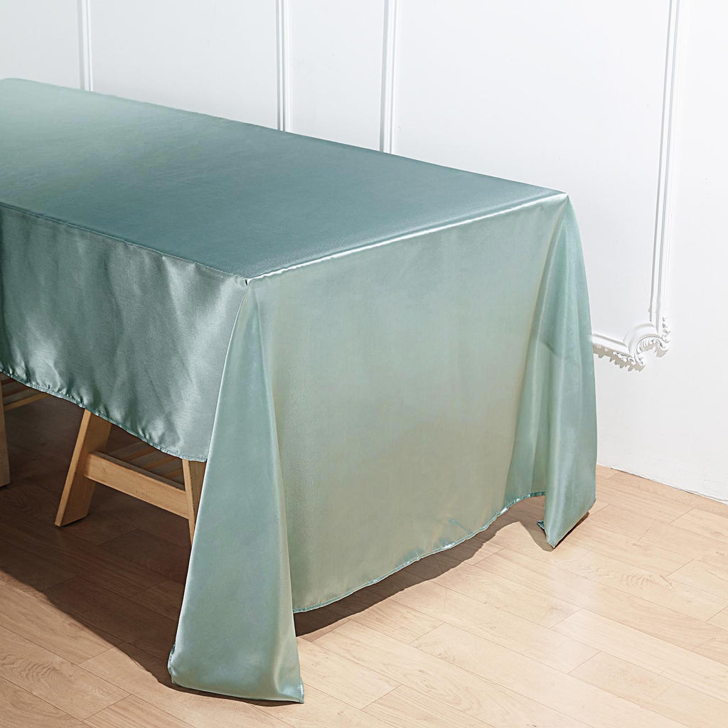 "60""x126"" Dusty Sage Satin Rectangular Tablecloth"