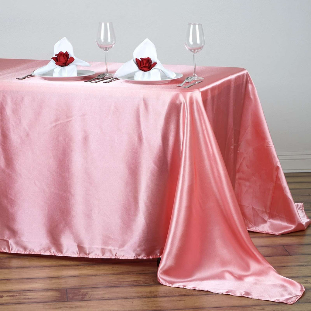 "90x132"" ROSE QUARTZ Wholesale SATIN Banquet Linen Wedding Party Restaurant Tablecloth"