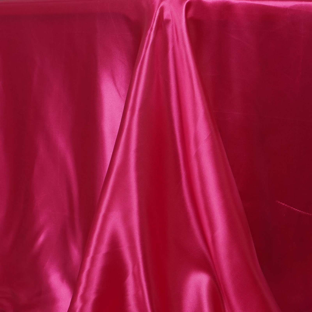 "90x132"" Fushia Satin Rectangular Tablecloth"