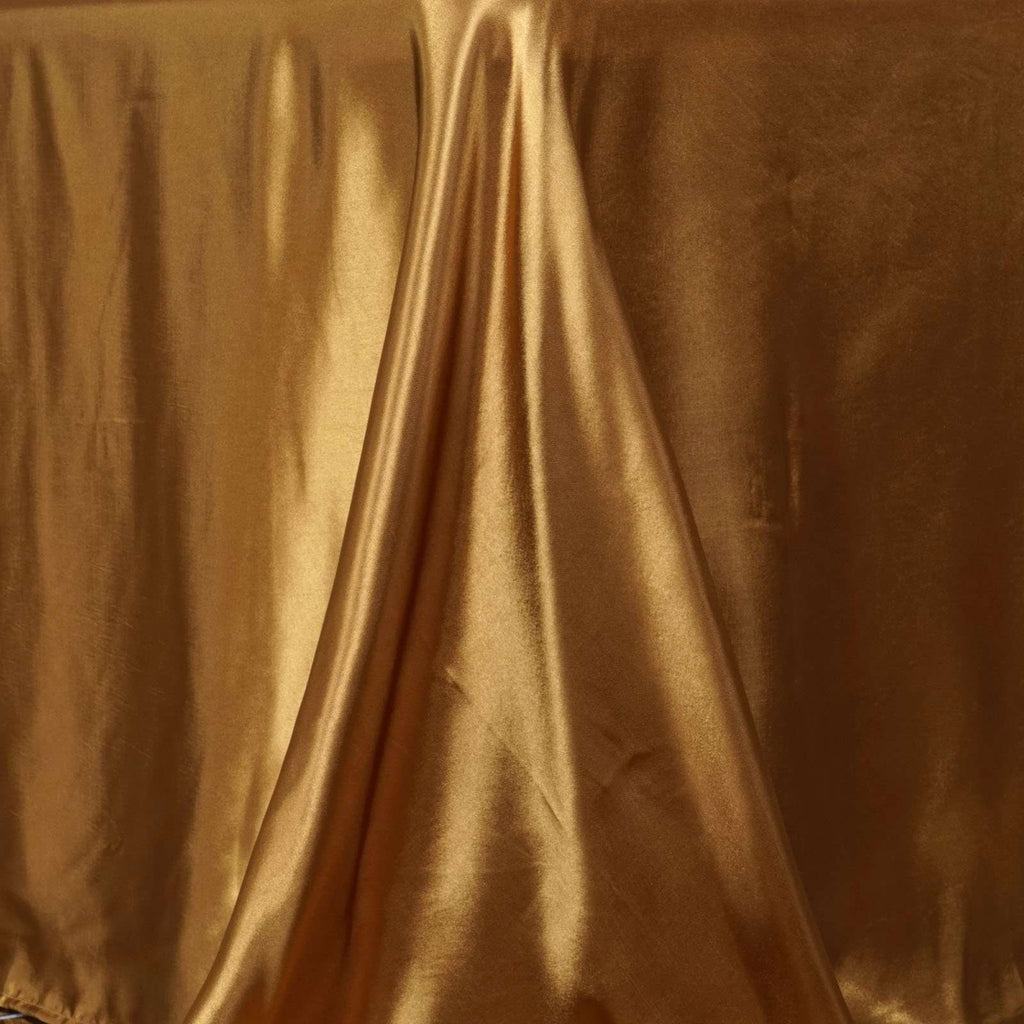 "90x132"" Gold Satin Rectangular Tablecloth"