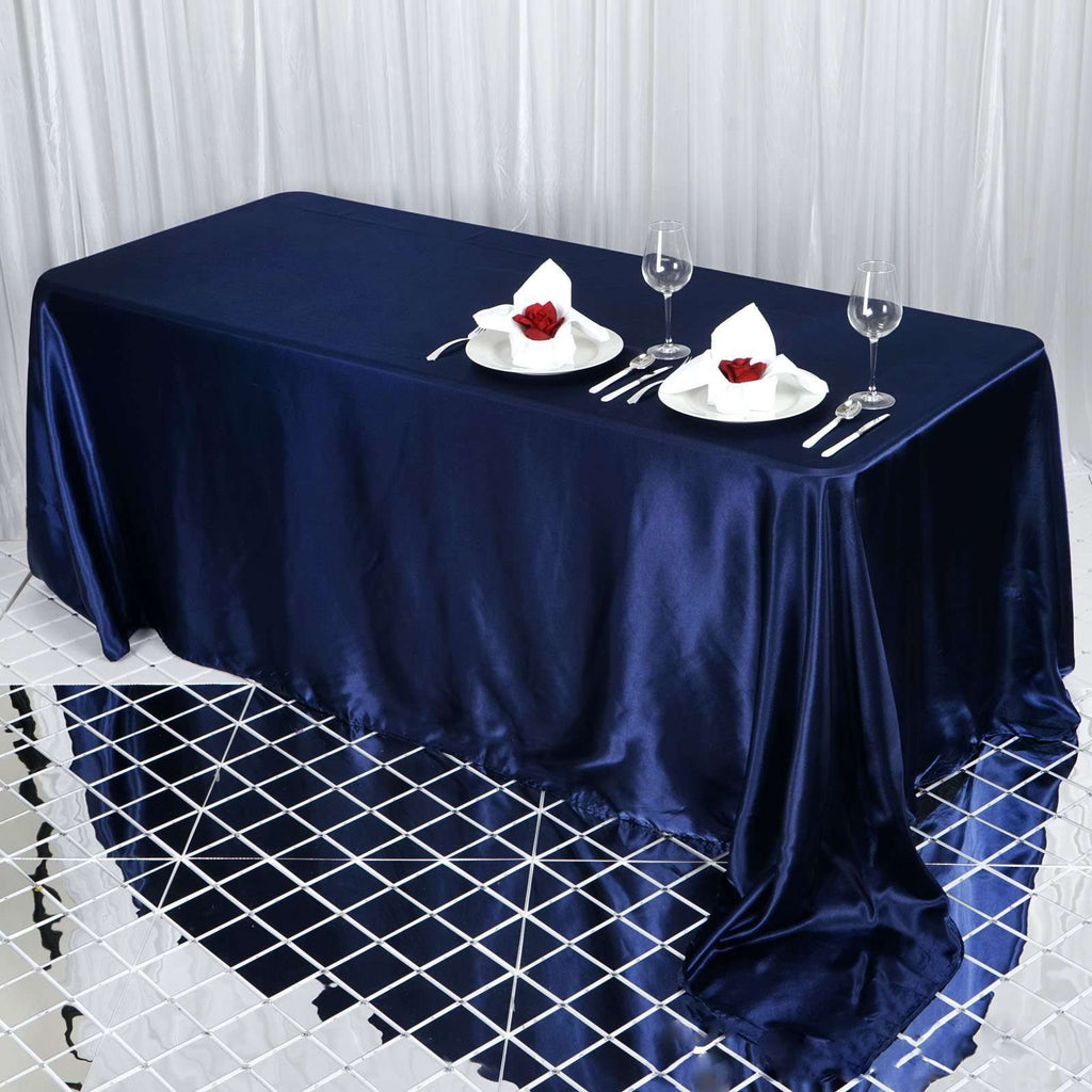 "90x132"" Navy Blue Satin Rectangular Tablecloth"